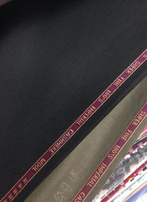 TR Suiting Fabric With English Selvage Black